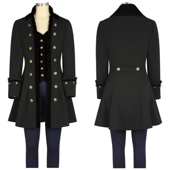 3e7bf2c822e7c Plus Size Steampunk Trench Coat Jacket Goth Black